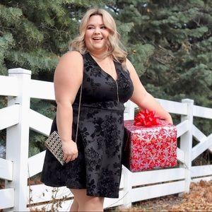 Scuba Knit Skater Dress with Velvet Floral Details